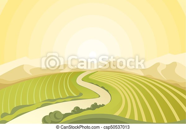 Amazing landscape of sunrise above fields at countryside - csp50537013