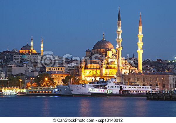 Amazing lighting Istanbul after suncet, evvening, Turkey - csp10148012