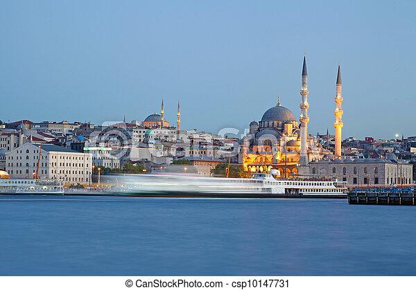 Amazing lighting Istanbul after suncet, evvening, Turkey - csp10147731