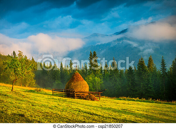 Amazing mountain landscape with fog and a haystack - csp21850207