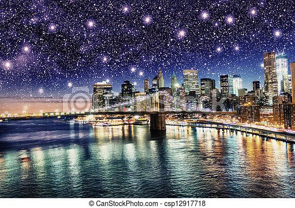 Amazing Night In New York City Stars Above Skyscrapers U S A