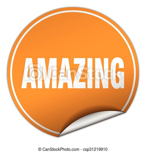 amazing round orange sticker isolated on white - csp31219910
