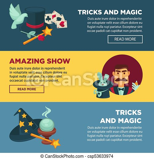 Amazing show with tricks and magic internet promotional posters set - csp53633974