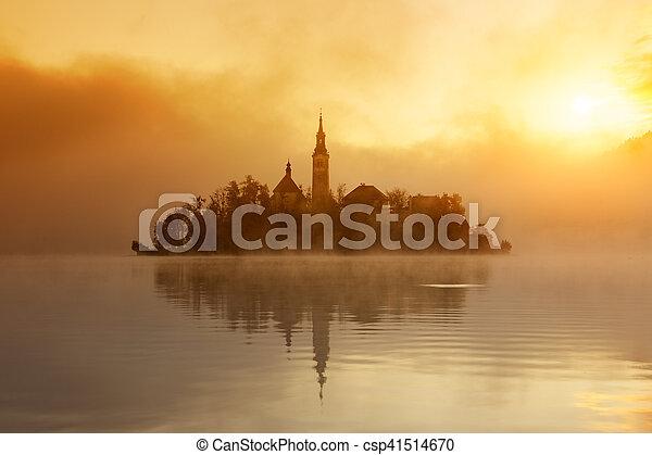 Amazing sunrise at the lake Bled in autumn, Slovenia - csp41514670