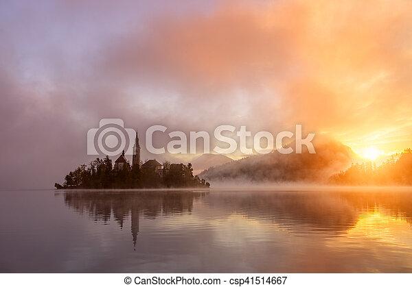 Amazing sunrise at the lake Bled in autumn, Slovenia - csp41514667