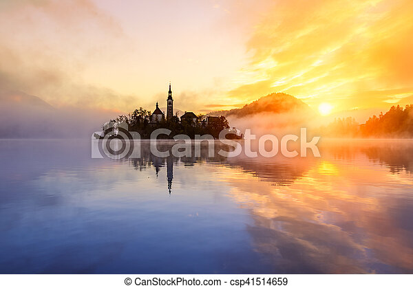 Amazing sunrise at the lake Bled in autumn, Slovenia - csp41514659