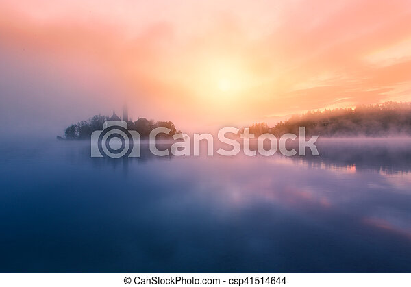 Amazing sunrise at the lake Bled in autumn, Slovenia - csp41514644