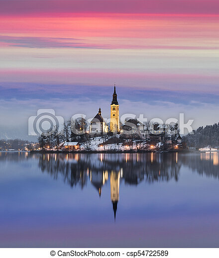 Amazing Sunset At The Lake Bled In Winter Slovenia