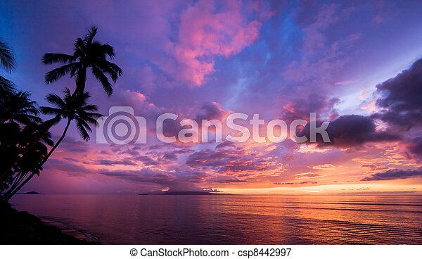 Amazing Sunset in Hawaii - csp8442997