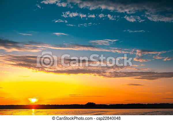 Amazing sunset over lake - csp22840048