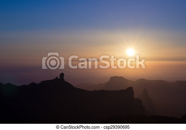 amazing sunset over Teide on Tenerife - csp29390695