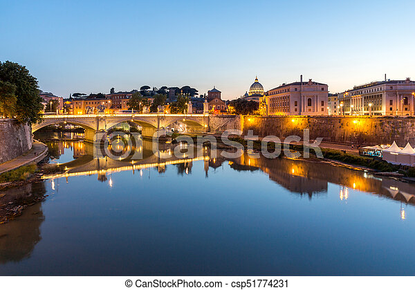Amazing Sunset view of Tiber River and St. Peter's Basilica in Rome - csp51774231