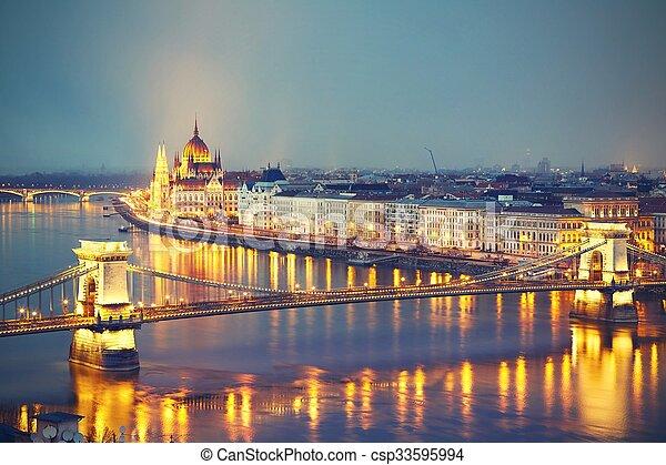 Amazing twilight in Budapest - csp33595994