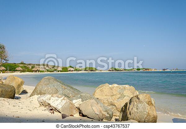 Amazing view from Baby beach on Aruba island - csp43767537