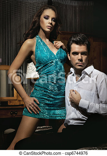 Amazing young couple in romantic pose - csp6744976