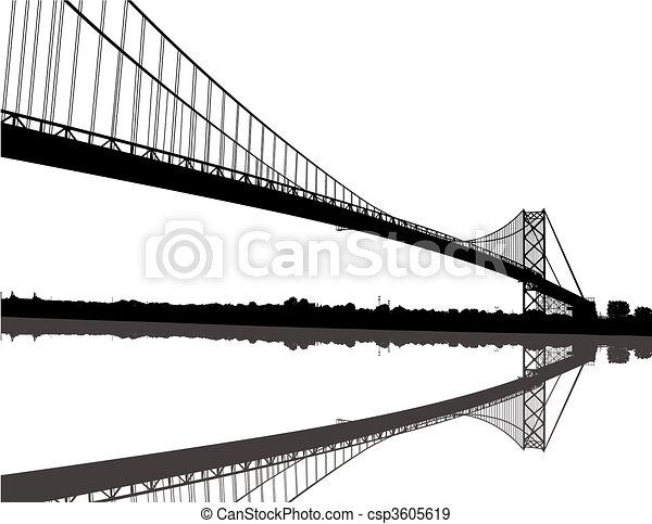 Ambassador Bridge Silhouette - csp3605619
