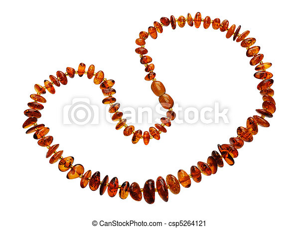 Amber necklace, isolated - csp5264121