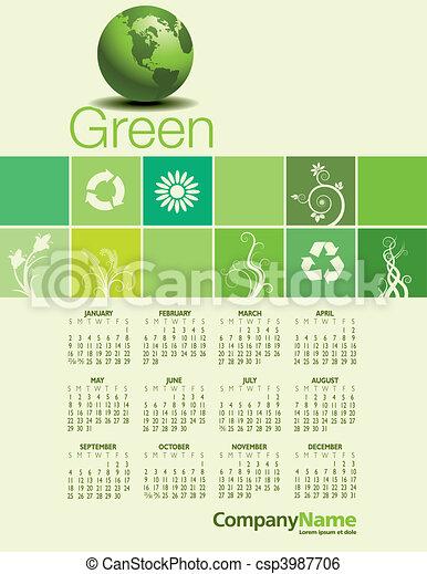 Calendario ambiental verde. - csp3987706