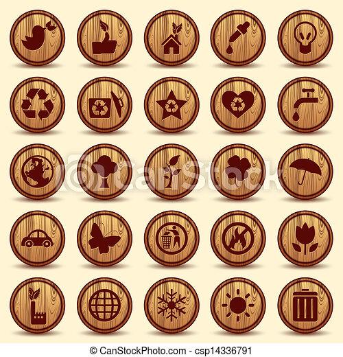 ambiente, ecologia, icone, set., simboli, legno, verde - csp14336791