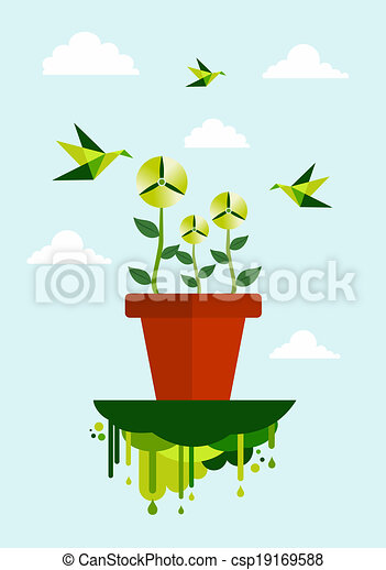 El ambiente verde limpia el concepto de energía - csp19169588