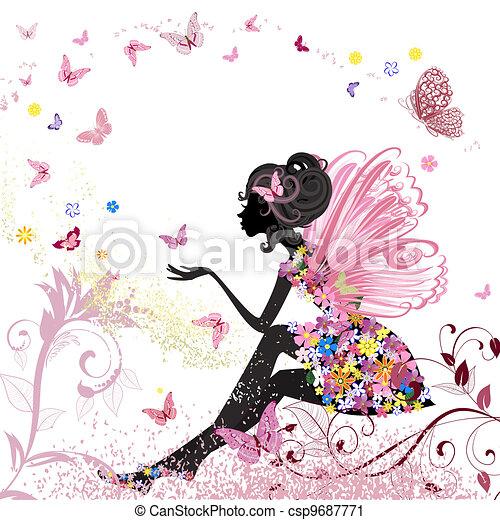 ambiente, farfalle, fiore, fata - csp9687771