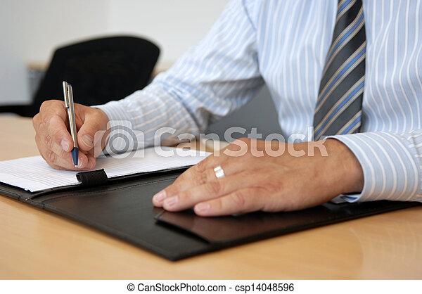 ambiente, primer plano, manos, empresa / negocio, escritura - csp14048596