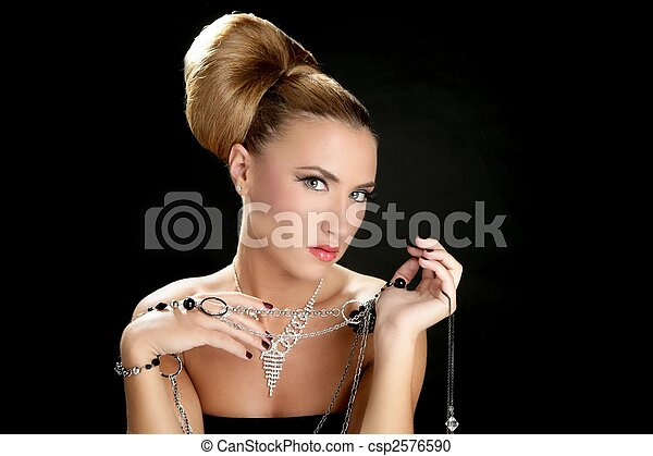 Ambition and greed in fashion woman with jewelry - csp2576590