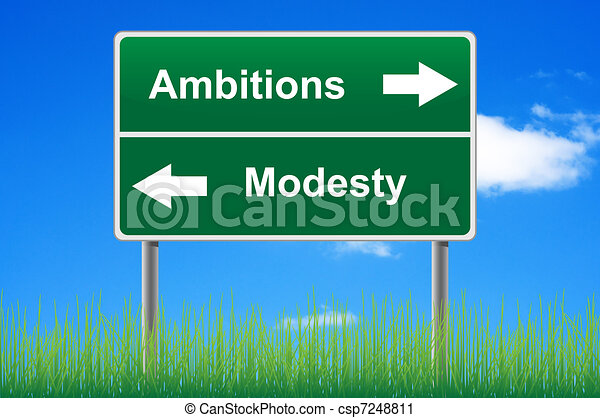 Ambitions modesty signpost on sky background, grass underneath. - csp7248811