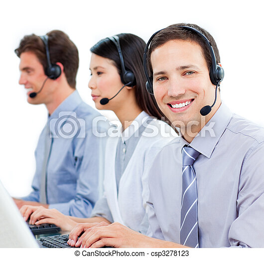 Ambitious customer service agents working in a call center - csp3278123