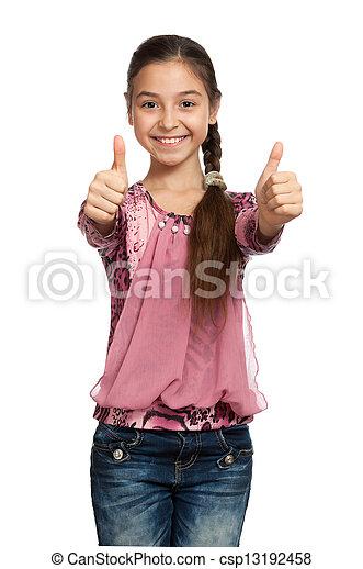 Chica mostrando pulgares con ambas manos - csp13192458