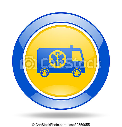 ambulance blue and yellow web glossy round icon - csp39859055