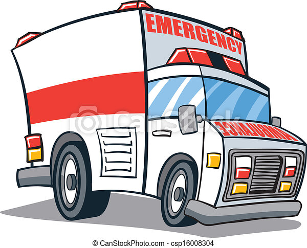 Illustr ambulance dessin anim v hicule secours - Dessin ambulance ...