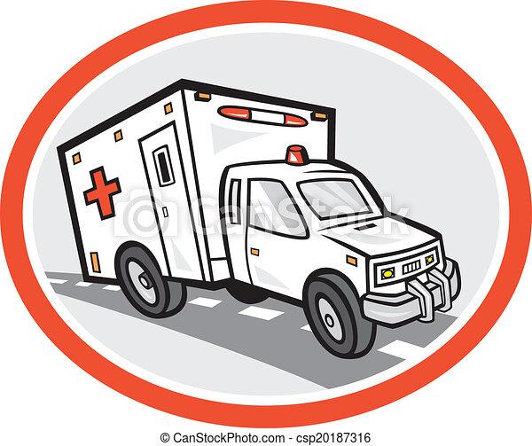 Ambulance Emergency Vehicle Cartoon - csp20187316