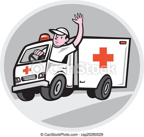 Ambulance Emergency Vehicle Driver Waving Cartoon - csp20280029