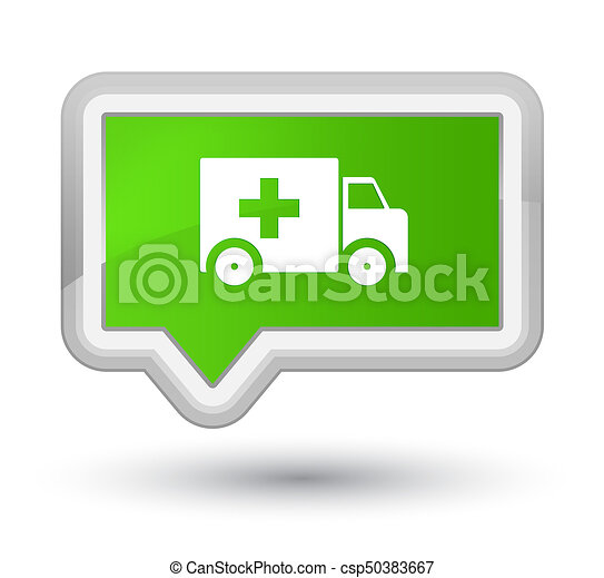 Ambulance icon prime soft green banner button - csp50383667