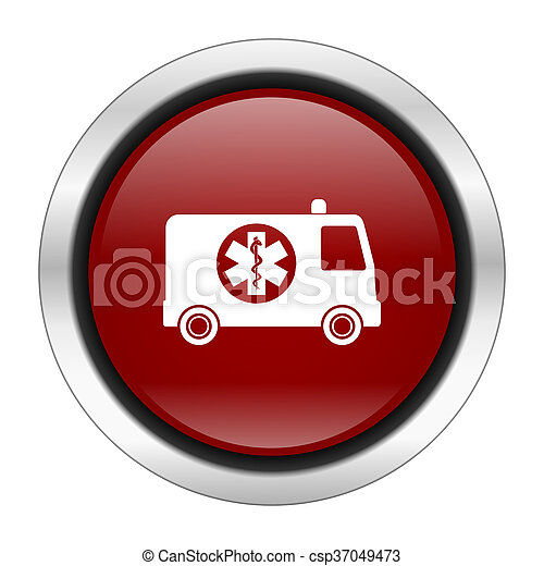 ambulance icon, red round button isolated on white background, web design illustration - csp37049473
