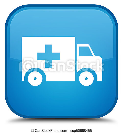 Ambulance icon special cyan blue square button - csp50668455