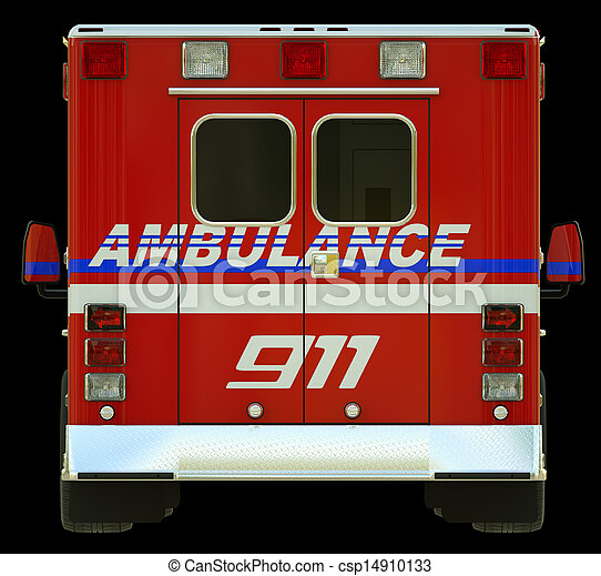 Ambulance: Rear view of emergency services vehicle - csp14910133