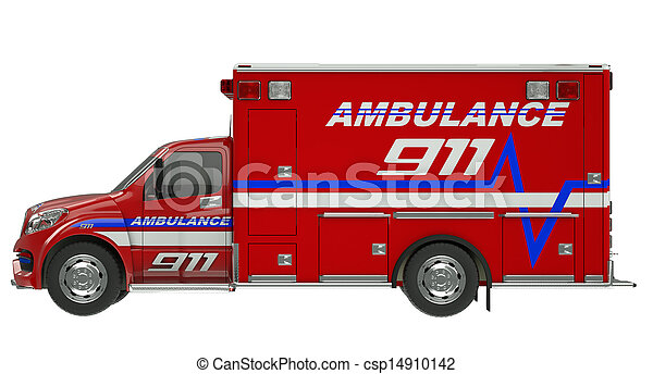 Ambulance: Side view of emergency services vehicle over white - csp14910142