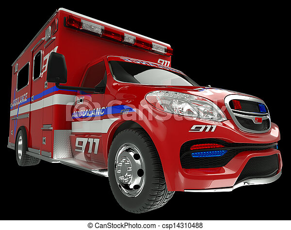 Ambulance: wide angle view of emergency services vehicle on black. Custom made and rendered - csp14310488