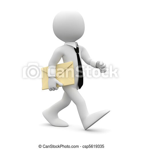 Un hombre caminando con una carta - csp5619335