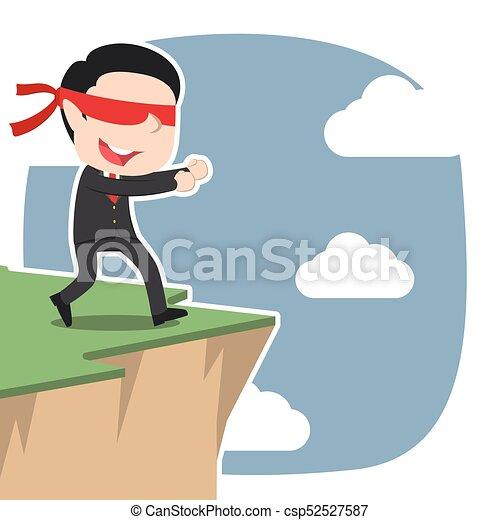 Un hombre de negocios con los ojos vendados asiáticos caminando al borde del acantilado - csp52527587