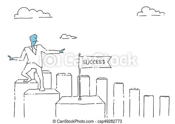 Un hombre de negocios que va a bares de cartas hasta el concepto de éxito financiero - csp49282773