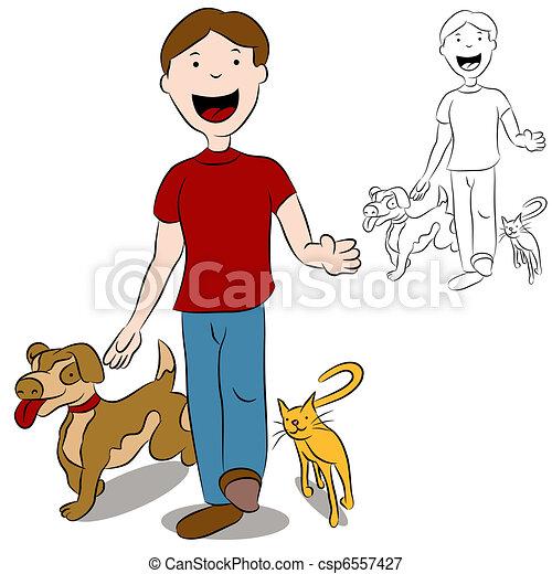 Un hombre caminando con sus mascotas en el parque - csp6557427
