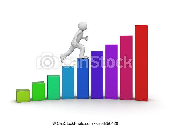 ambulante, escalera, éxito - csp3298420