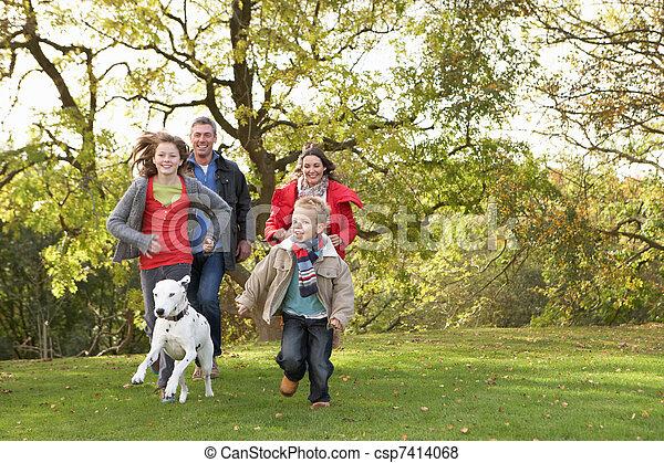 Una joven familia al aire libre caminando por el parque con un perro - csp7414068