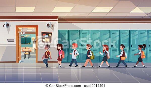 ambulante, grupo, alumnos, habitación, escuela, mezcla, carrera, pasillo, alumnos, clase - csp49014491