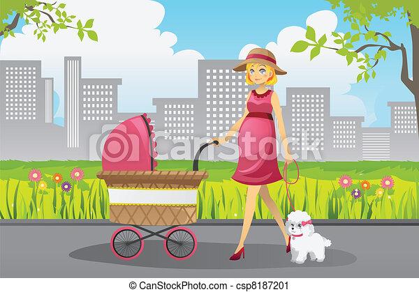Mujer embarazada caminando - csp8187201