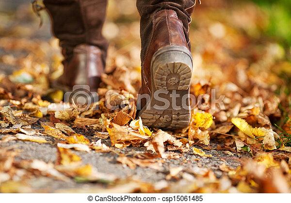 ambulante, mujer, lleno, hojas, muerto, calle - csp15061485