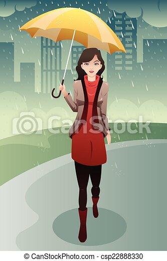 Mujer elegante caminando bajo la lluvia llevando un paraguas - csp22888330